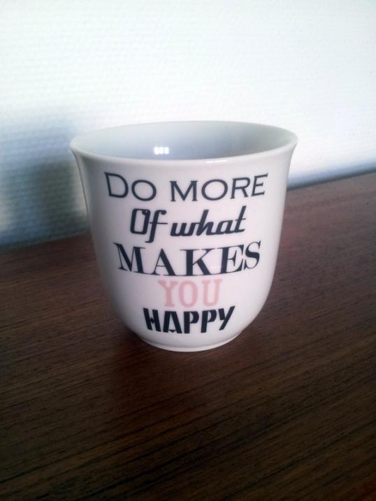 En fin kop med et fint citat